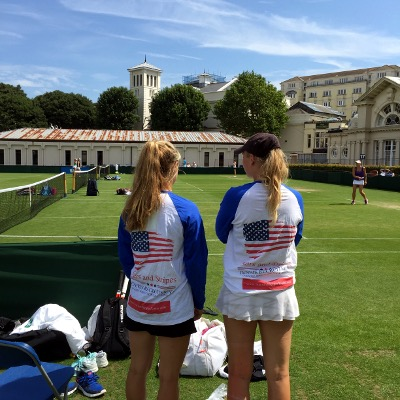 Female tennis players wearing Stars and Stripes Recruitment tops