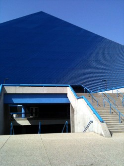 Entrance steps to pyramid-like sports stadium